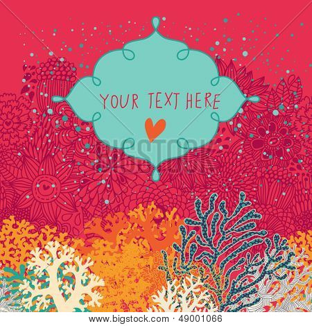 Underwater card with textbox made of colorful corals in vector. Bright marine background