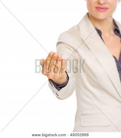 Closeup On Business Woman Beckoning