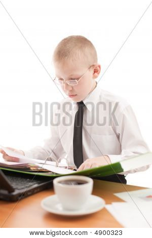 Teenager Working In Usual Office Space