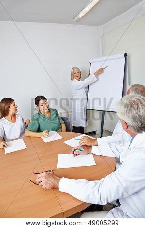 Doktor geben Lecture an der Team-Sitzung in ein Krankenzimmer