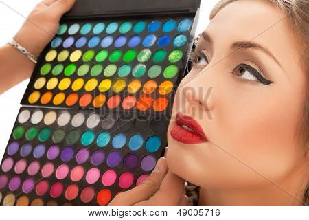 Makeup Applying. Make-up artist applying