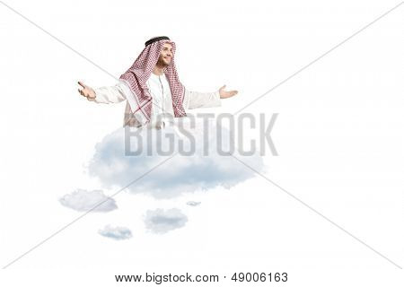 Young arab person sitting on a cloud isolated on white background