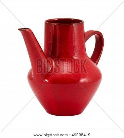 Red Clay Pitcher Handle Isolated On White