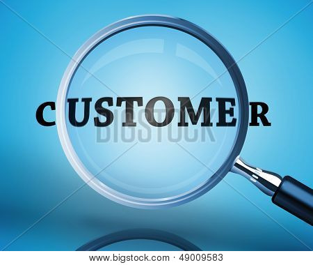 Magnifying glass showing customer word on blue background