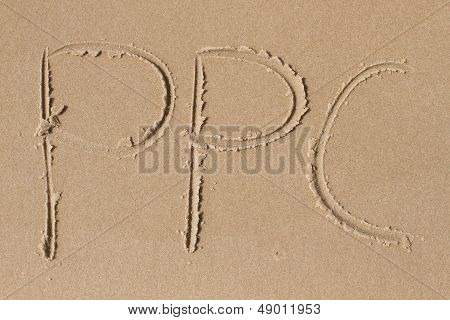 The Letters P P C Drawn In The Sand