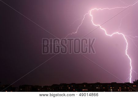 lightning over big city