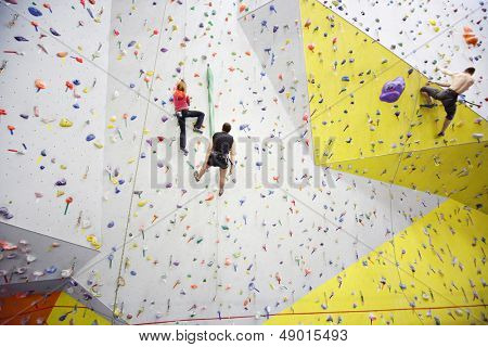 MOSCOW - DEC 5: People involved in climbing in a climbing gym Bigwall on Savelovskaya on December 5, 2012 in Moscow, Russia.