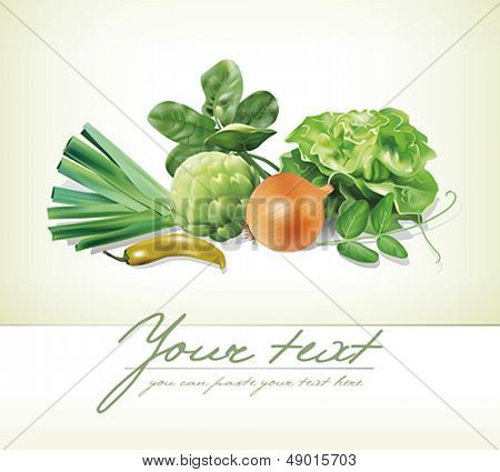 Design template with group of vegetables. Vector illustration.