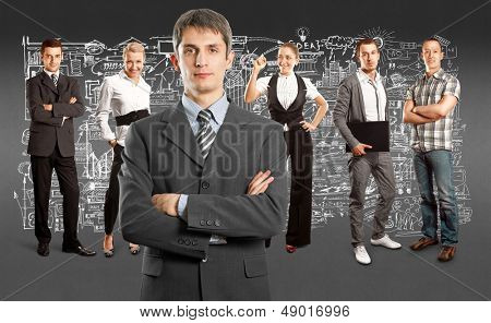 Business team against different backgrounds