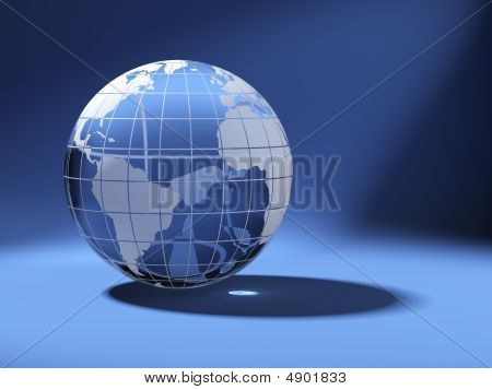 Cristal World Globe On Blue