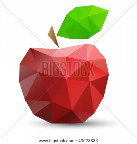 Abstract red apple. Vector illustration,  polygonal design.