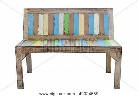 Vintage Old Wooden Chair Isolated On White Background
