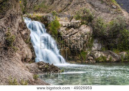 The Waterfall Near Belovo Village In Novosibirsk Region