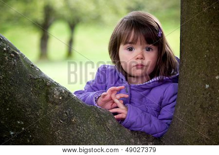 Beautiful Young Girl With Surprised Look Enjoying Nature