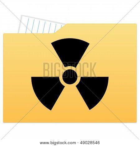File folder with radiation sign