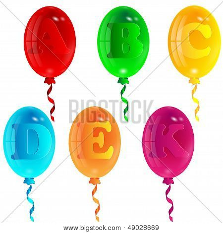 varicoloured balloons with the image of letters on a white background