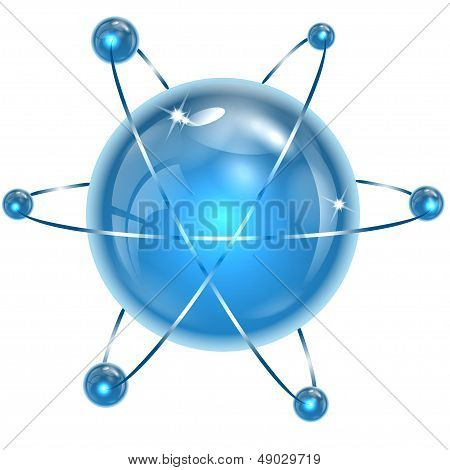 spheres of blue color on a white background