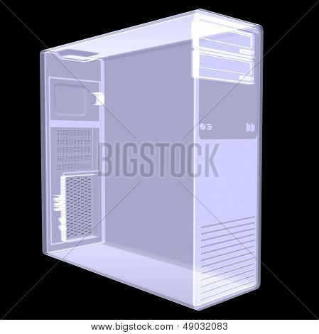 Computer case. X-ray render