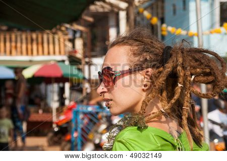 Arambol, Goa - February 5, 2013: An Unknown Girl With Dreadlocks Casual At The Annual Festival Of Fr