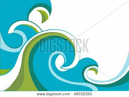 Nature Sea With Waves And Sun.vector Illustration Isolated On White