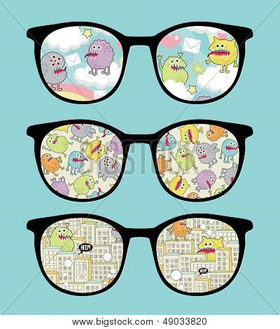 Retro sunglasses with sweet monsters reflection.