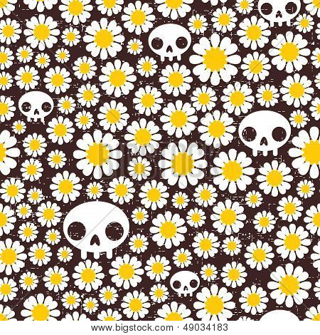Camomile and skull seamless pattern.