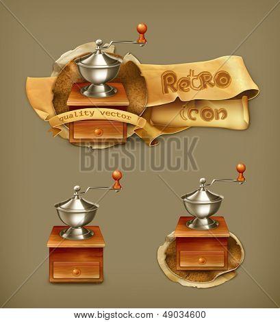 Coffee grinder, vector icon