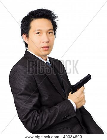 Asian Male With A Gun On White