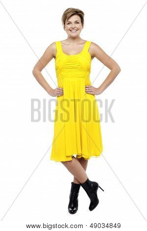 Attractive Blonde Wearing Bright Yellow Frock