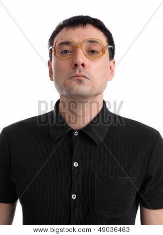Funny Portrait Of Young Nerd With Eyeglasses Isolated On White Background.