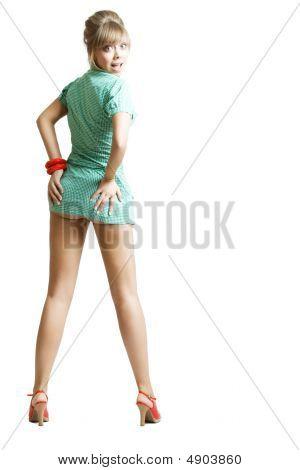 Blonde In Grren Dress
