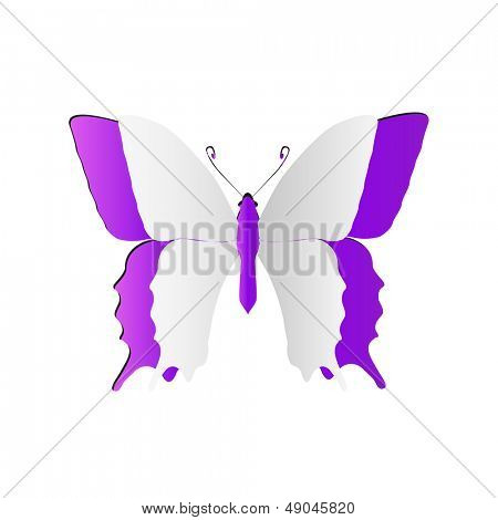 High resolution 3D abstract concept or conceptual white paper with violet background butterfly shape or symbol
