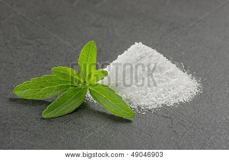 Stevia leaves with stevia powder on a slate plate