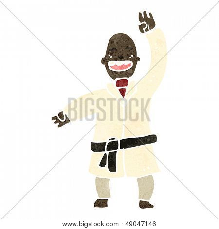 retro cartoon karate man