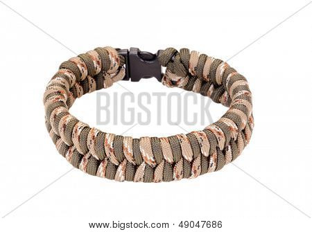 Fishtail weave Parachute cord bracelet in two camouflage colors isolated on a white background