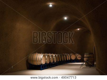 barrels Inside a wine cave in northern California