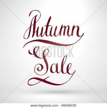Autumn Sale Hand Lettering. Handmade calligraphy, vector