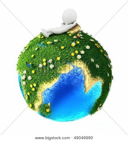 3d white people relaxed on green earth