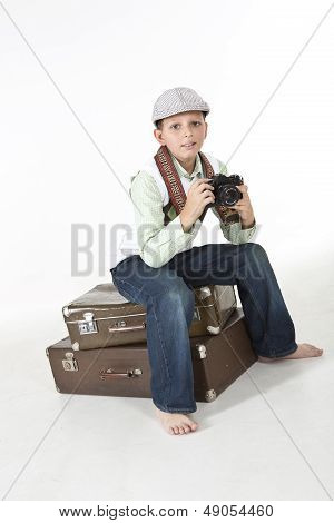 Young boy photographer