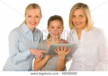 Family Using Pc Tablet