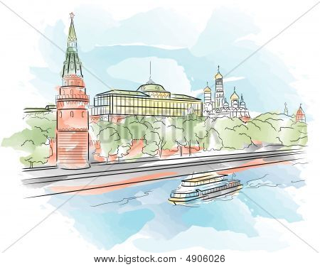 Big Palace Of Moscow Kremlin With River