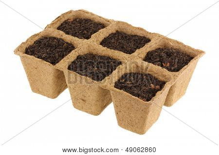 Eco Friendly and Biodegradable Plant Pots for growing seeds, Isolated on white