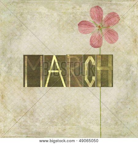 Erdigen Hintergrund und Design-Element, die das Wort für den Monat März