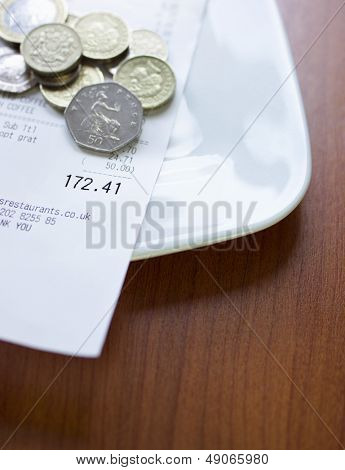 Pound coins and bill on plate close-up