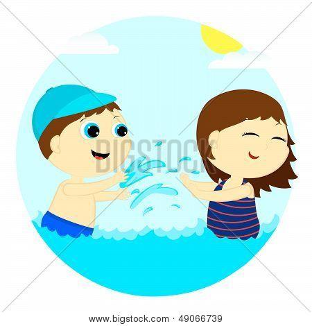 Children Splash In The Water