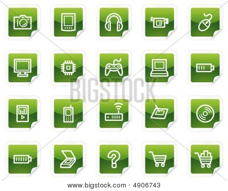 Electronics Web Icons, Green Sticker Series