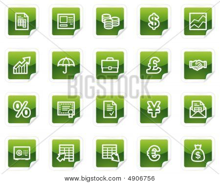 Finance Web Icons, Green Sticker Series