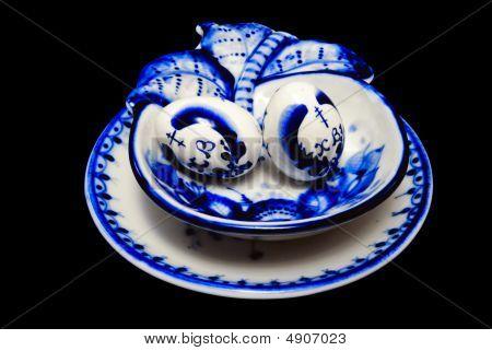 Gzhel Eggs In A Plate