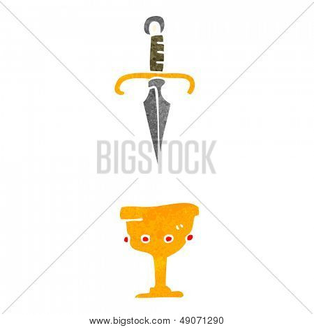 retro cartoon dagger and cup symbol