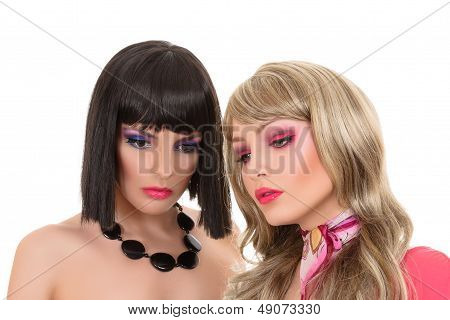 Two Young Fashion Model Posing Like Manequin
